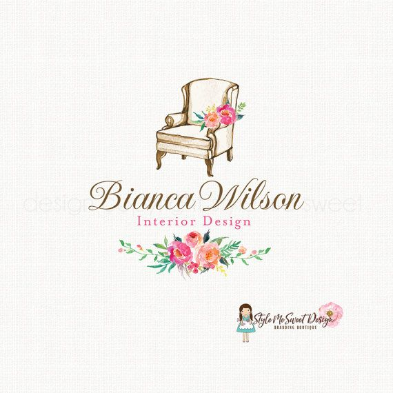 Interior design logo home decor logo vintage chair logo for Home interiors logo