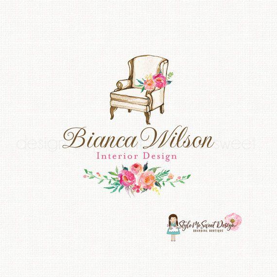 Interior design logo home decor logo vintage chair logo watercolor