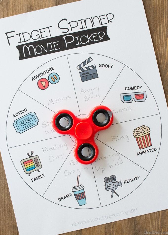 Family Movie Night Fidget Spinner Movie Picker - Bren Did