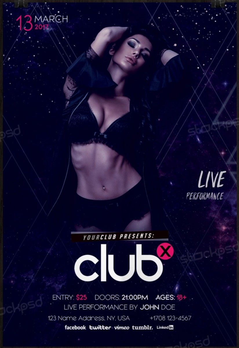 free club flyer templates psd download