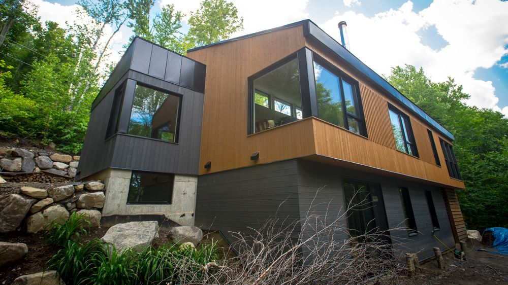 Maison écologique certifiée leed novoclimat située à val morin dans les laurentides architecture contemporaine fenêtres vitrage triple air pulsé