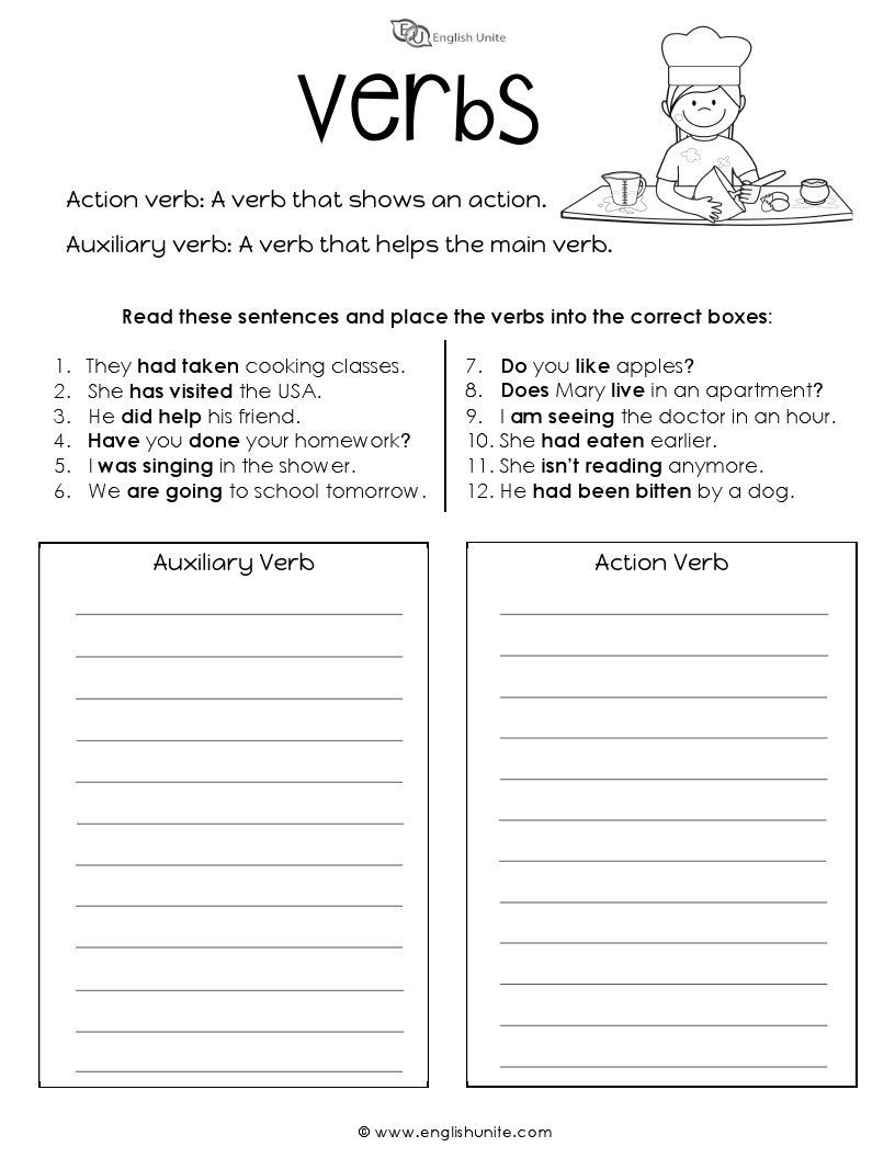 Verb Worksheet - English Unite   Verb worksheets [ 1056 x 816 Pixel ]