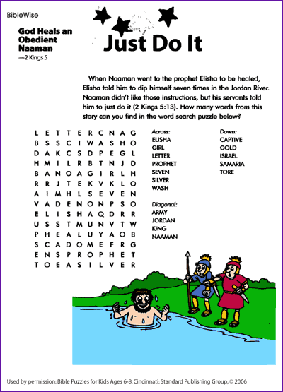 naaman word search - Bible Story Coloring Pages Naaman