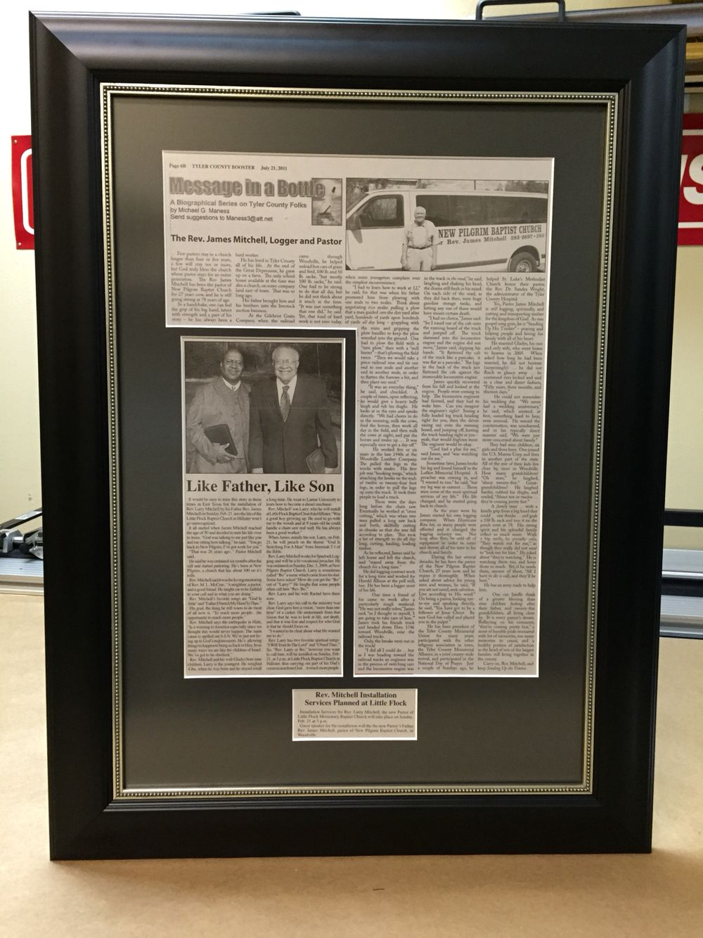 newspaper articleafter custom framing