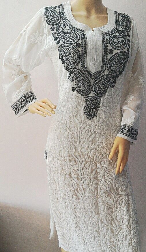 b458e2b03e Elegant Black and White Lucknowi Chikankari Kurti!! | white ...