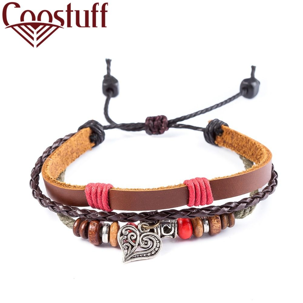 Leather bracelets for women men jewelry heart charm pulseira