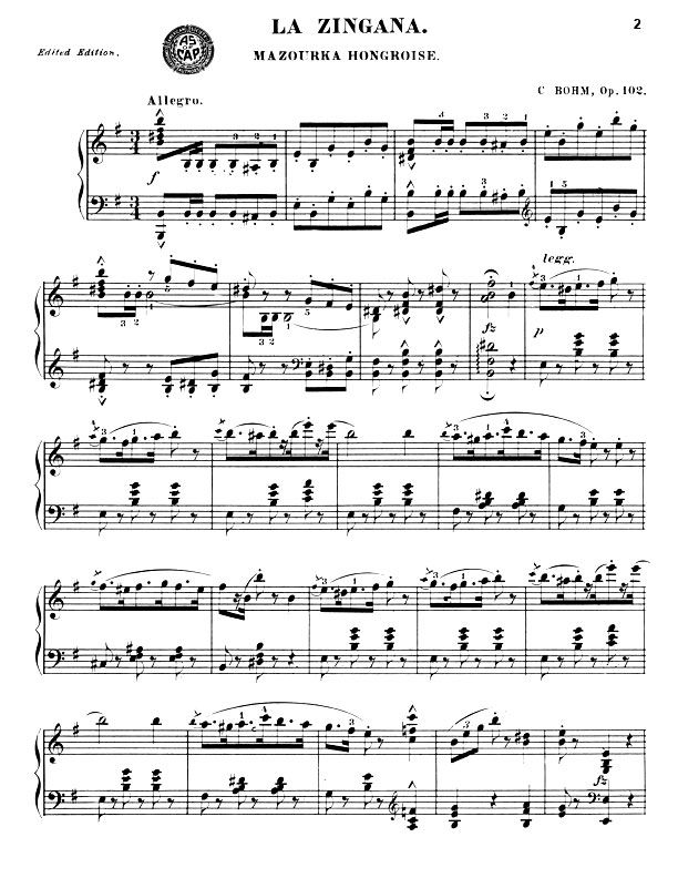 Violin dave matthews band violin sheet music : NEW! La Zingana, Mazourka Hongroise piano sheet music by Carl Bohm ...
