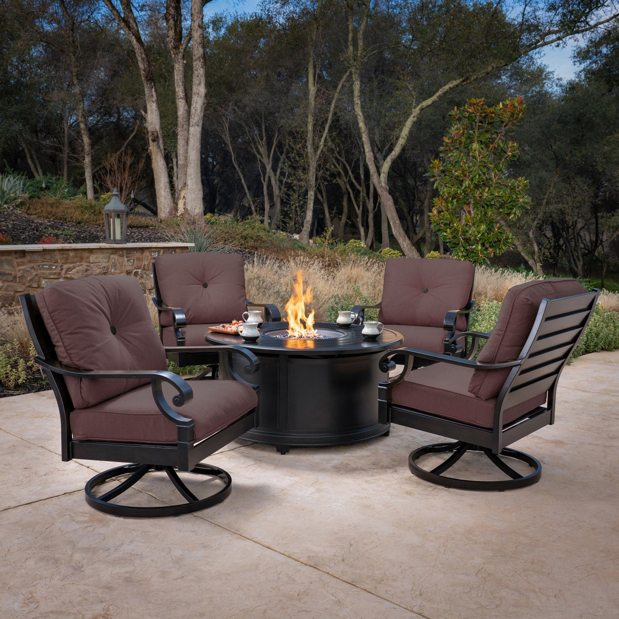 Verena 5 Piece Fire Chat Set Costco Patio Furniture Outdoor Retreat Verena