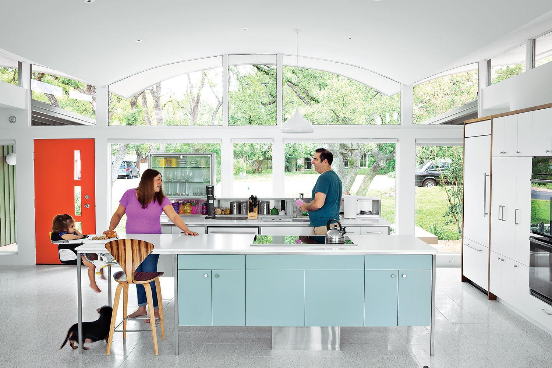 Renovated midcentury modern home in austin interior kitchen