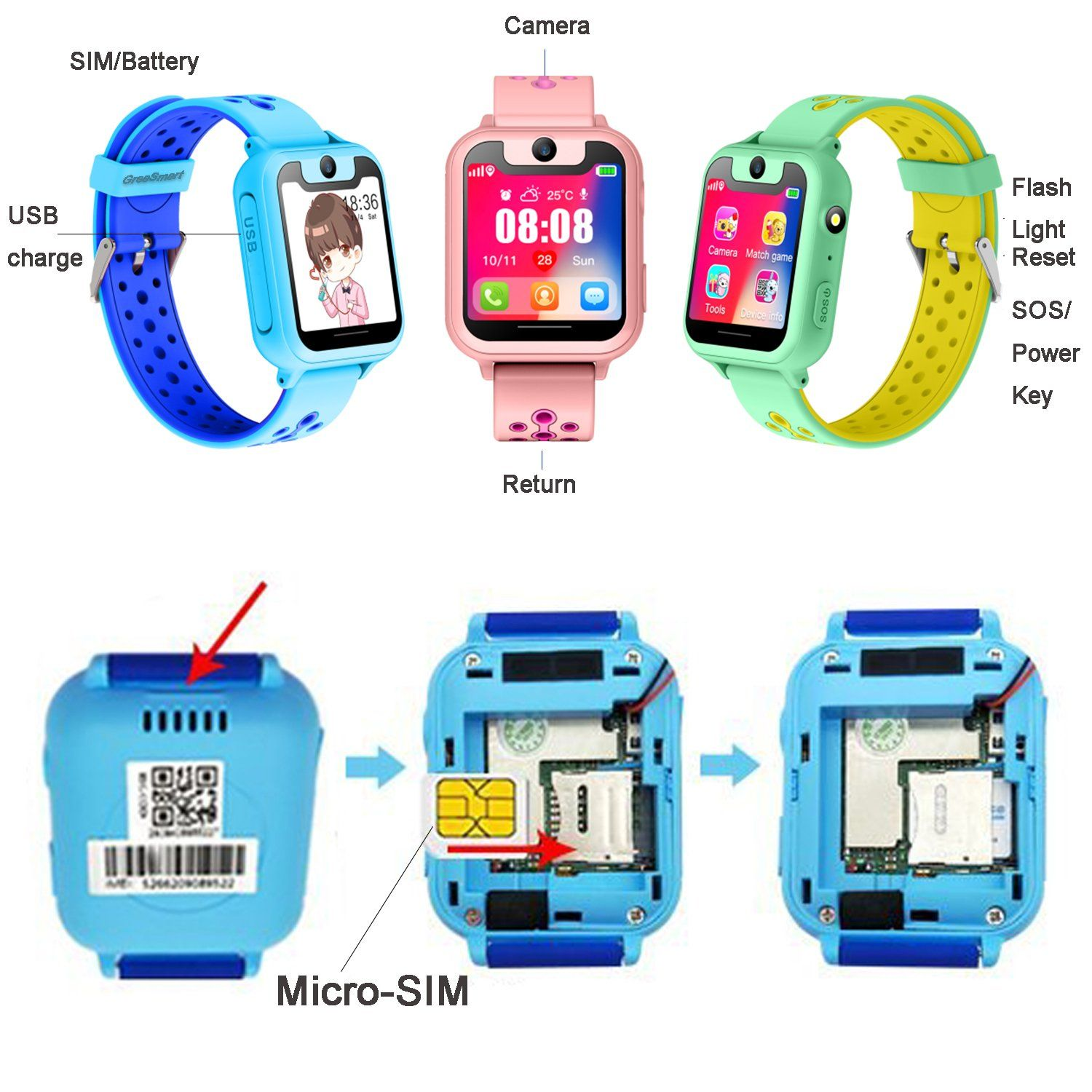 Kids Smartwatch with GPS Tracker Phone Remote Monitor
