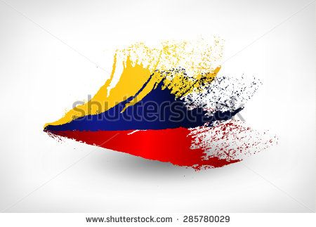 Brush painted flag of Colombia. Hand drawn style illustration with a grunge effect.