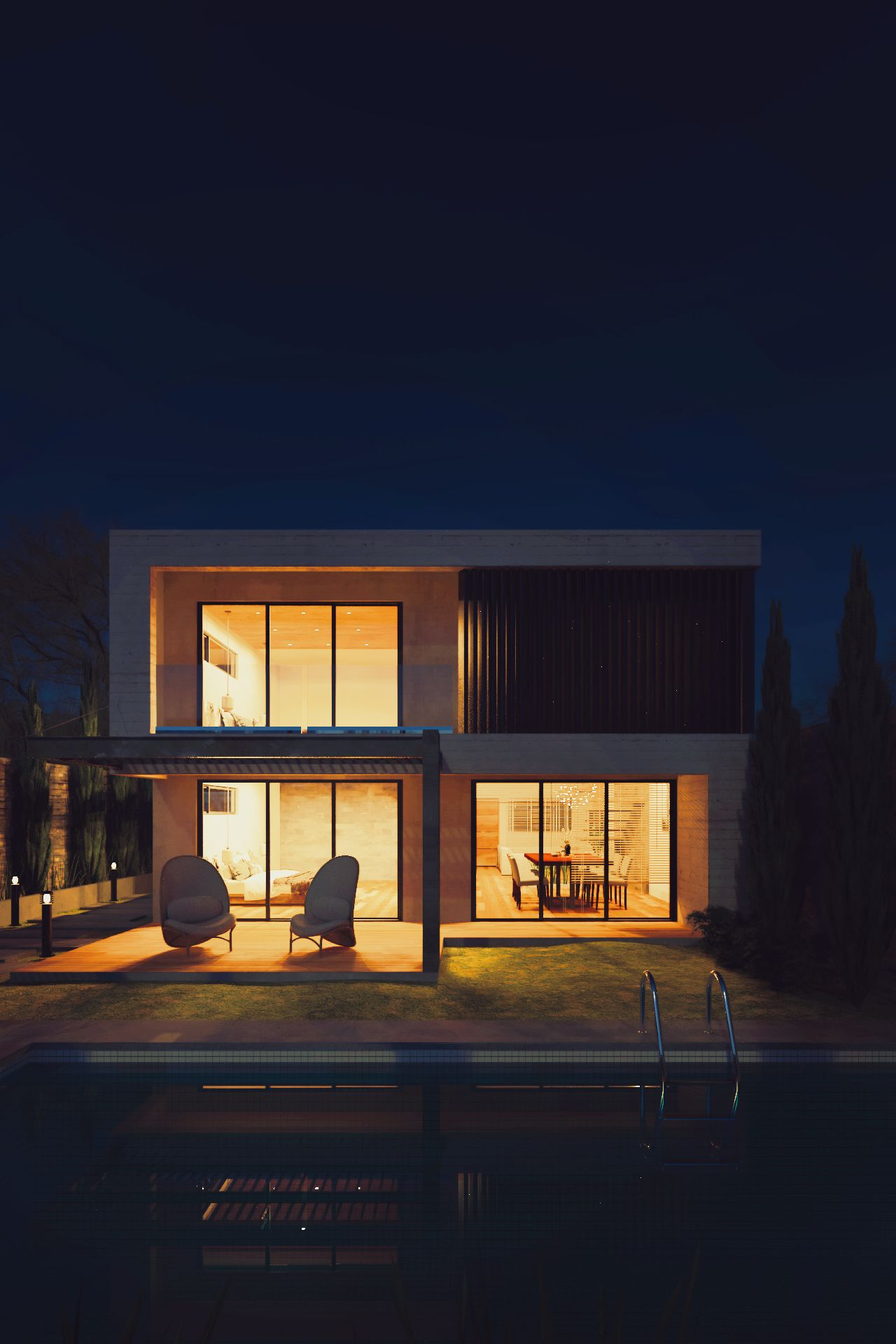 Modern Home Exterior Night Rendered In Keyshot Architecture
