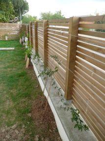 Cl ture bois et grimpantess terrasse pinterest for Cloture bois flotte