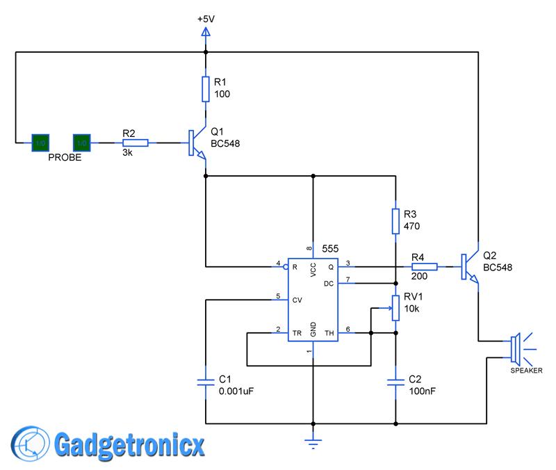 Rain alarm Circuit using Timer IC 555 | Pinterest | Circuit diagram ...