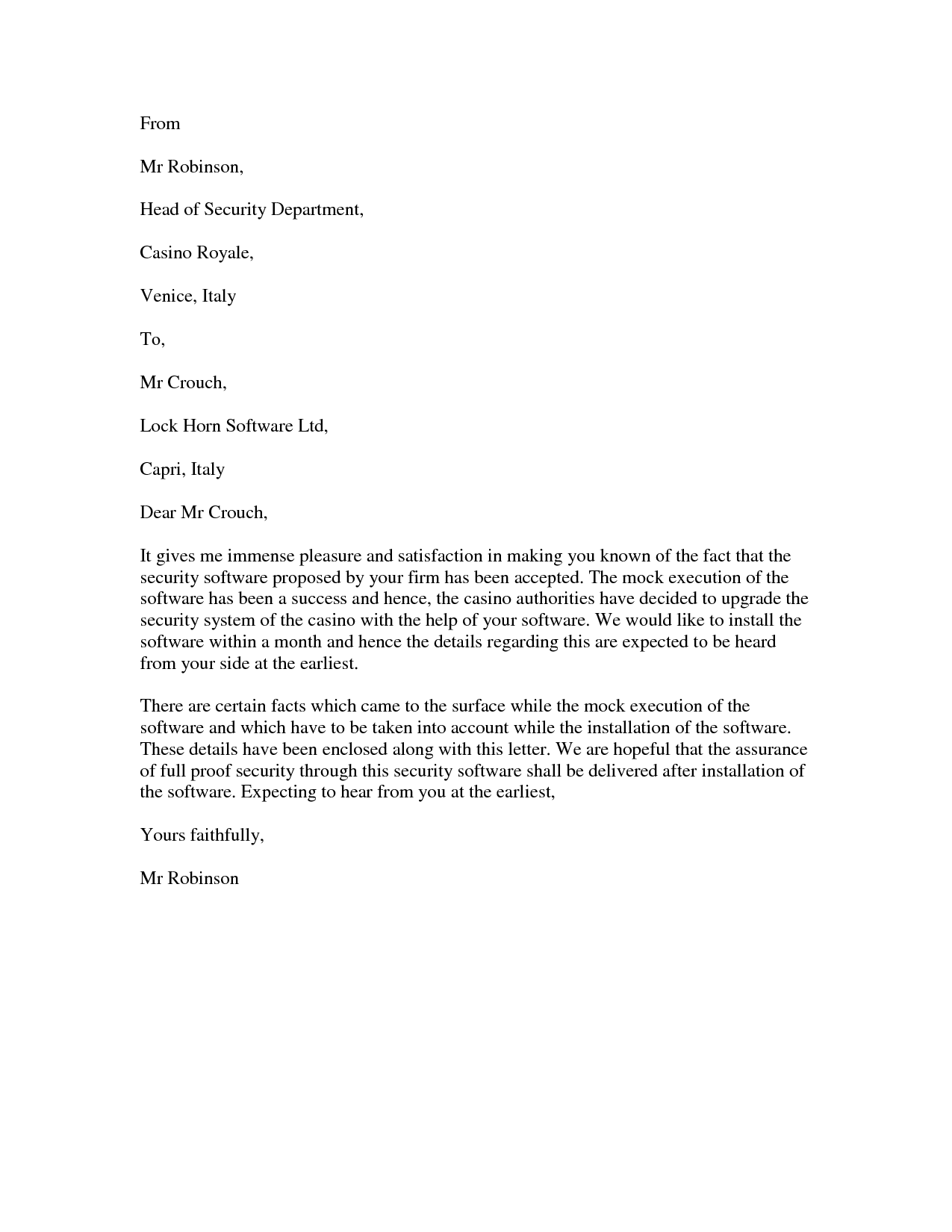 Software Acceptance Letter To Ensure A Mistake Free Letter Of