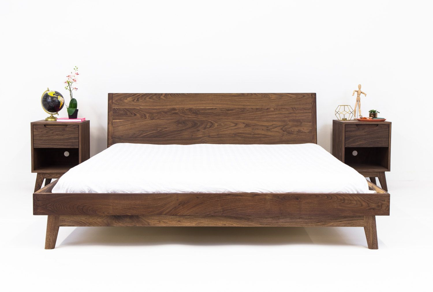 Walnut Platform Bed Frame, Mid Century Modern Bed, Wood ... on Modern Boho Bed Frame  id=74619