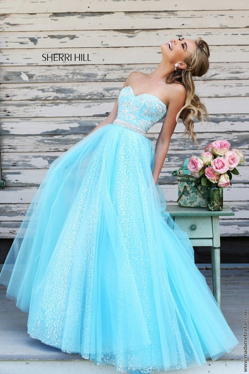 Sherri hill light blue silver sparkling pageant prom ball gown