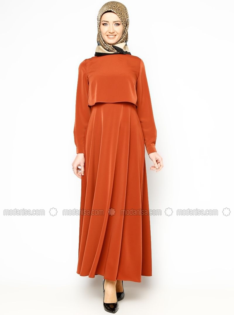 Duz Renk Elbise Kiremit Bislife Elbise Modelleri The Dress Islami Moda