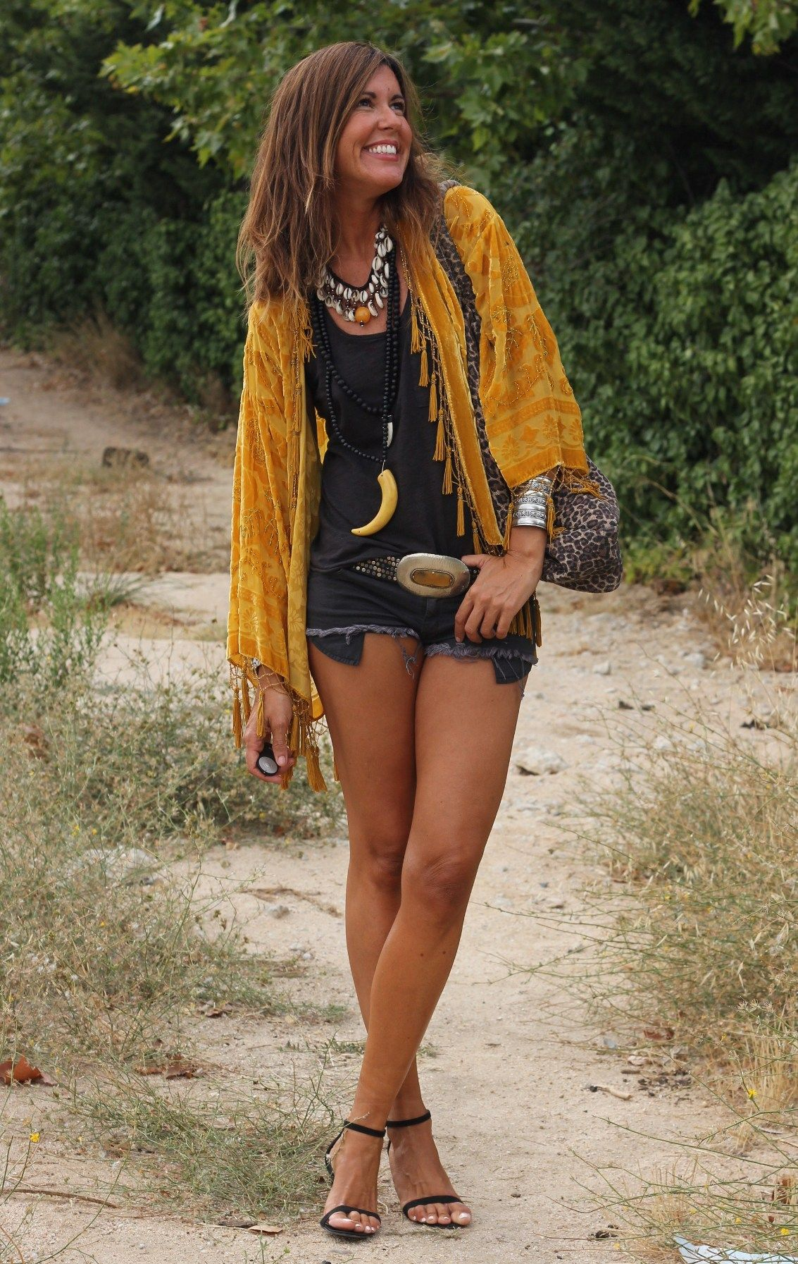 Boho chic velvet fringe jacket with modern hippie necklaces and chunky silver belt buckle.