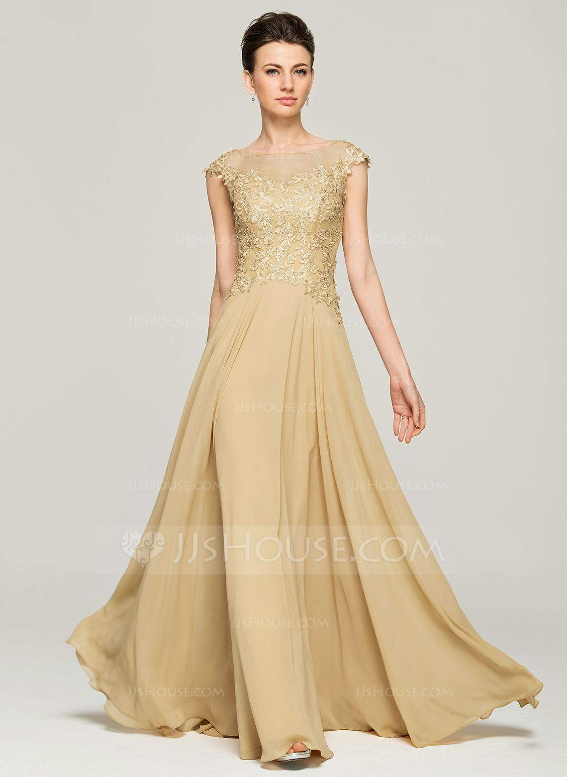 6c28e5aa141 A-Line Princess Scoop Neck Floor-Length Chiffon Lace Mother of the Bride  Dress With Beading Sequins