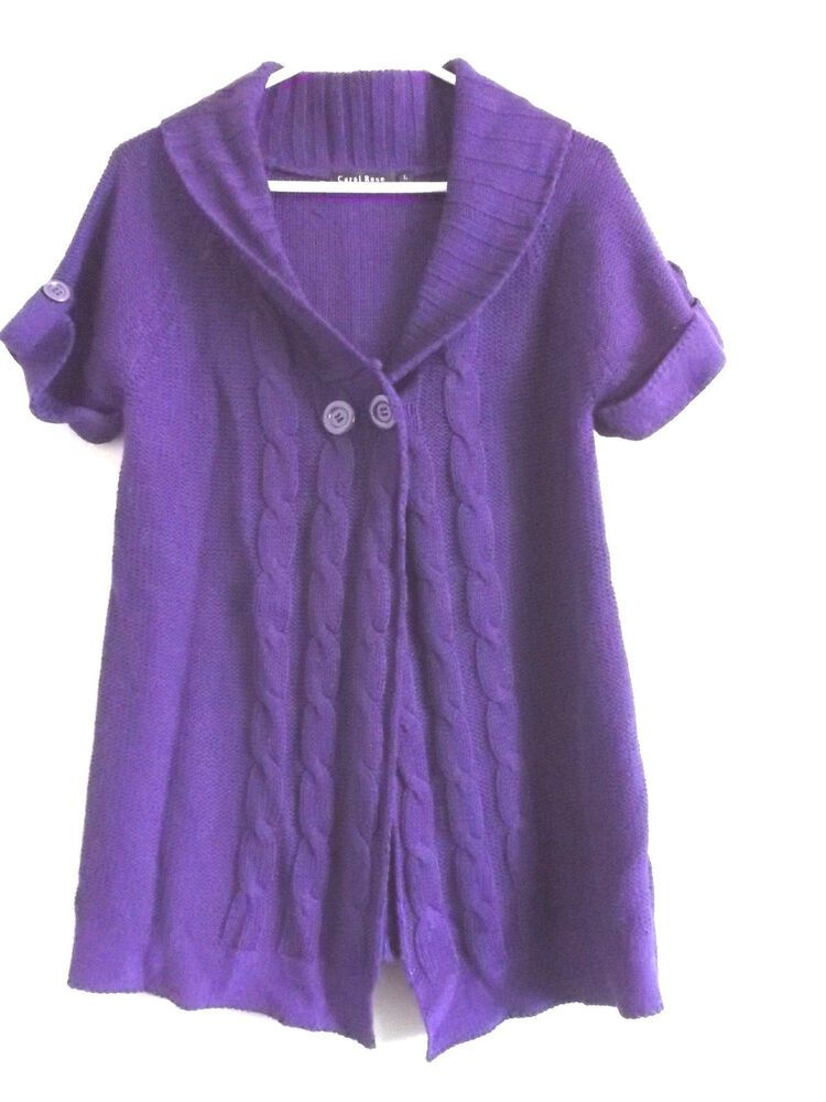 7f9cfb82d4 Carol Rose short sleeve Sweater tunic Top sz Large purple  CarolRose   Cardigan  CasualOrWork