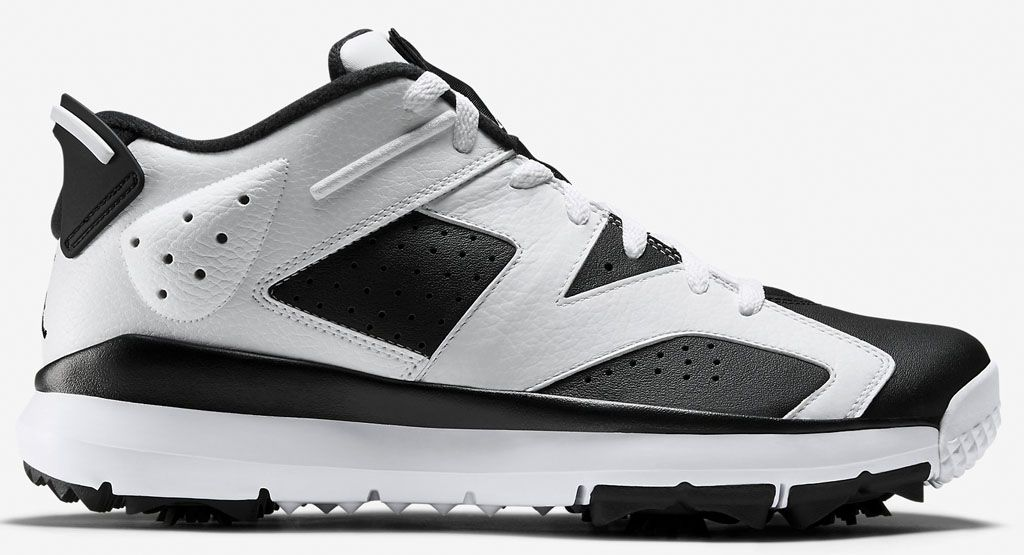 2a8656aa3b7490 Air Jordan 6 Golf Shoes White Black (1)