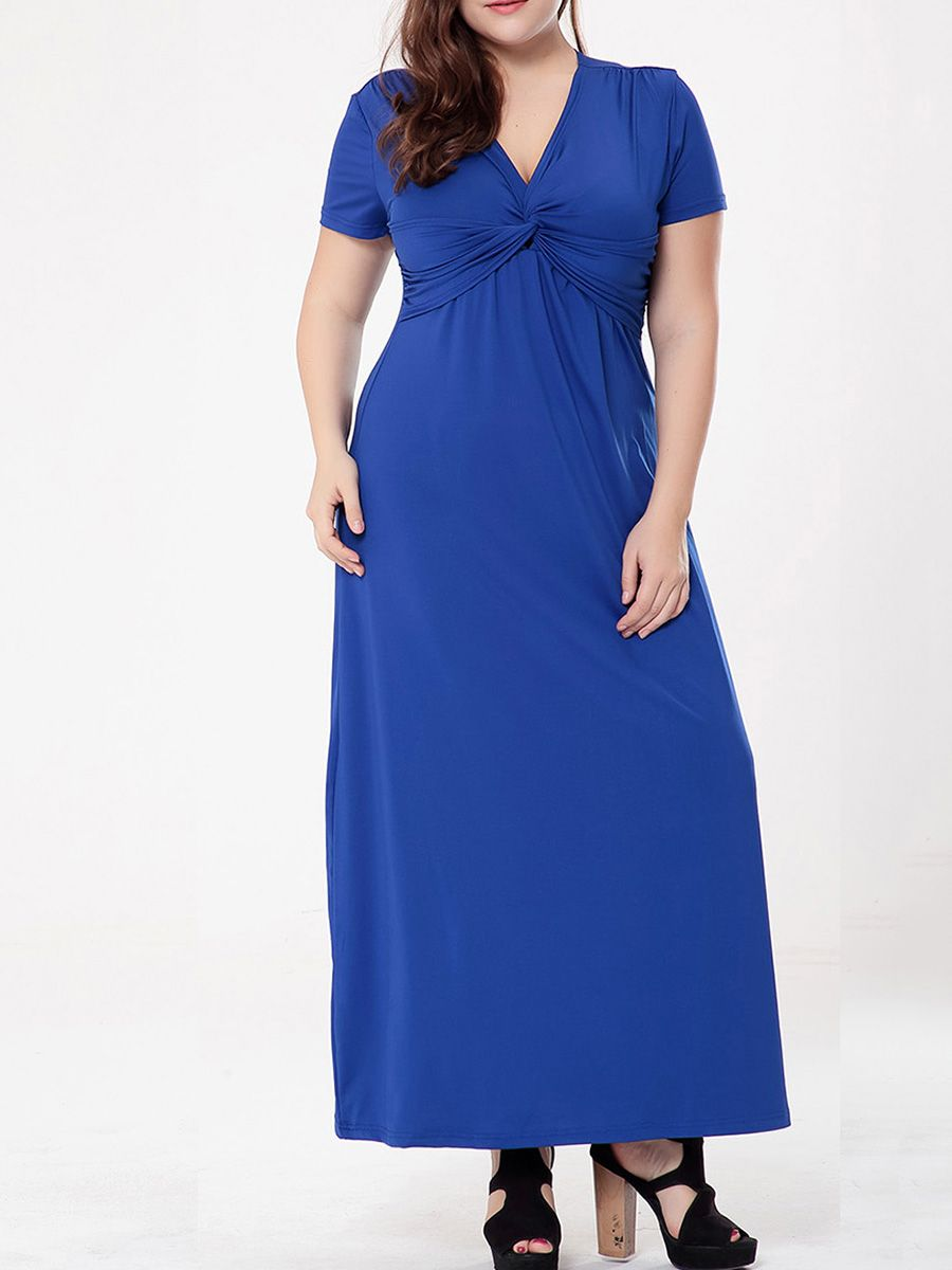 4754523f231 Graceful Ruched Empire Deep V-Neck Solid Plus Size Maxi Dress in ...