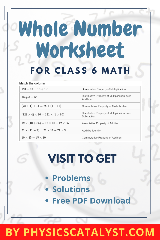 Whole Number Worksheet in 2020 Class 6 maths, Math, Class