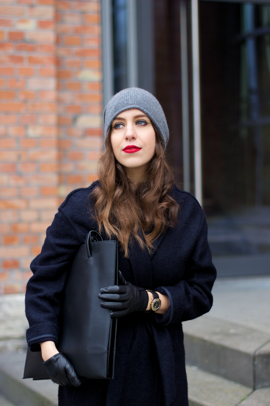 OUTFIT  Cos Grey Cashmere Hat and Blue Wrap Coat from Mango ... c7b6134e84c