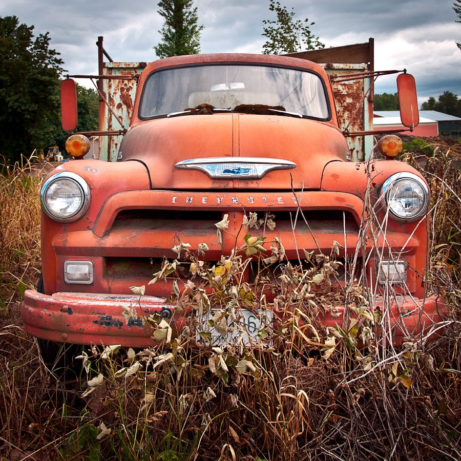 Front of an old #Chevy #truck. Taken in the farmlands of Kent, WA ...