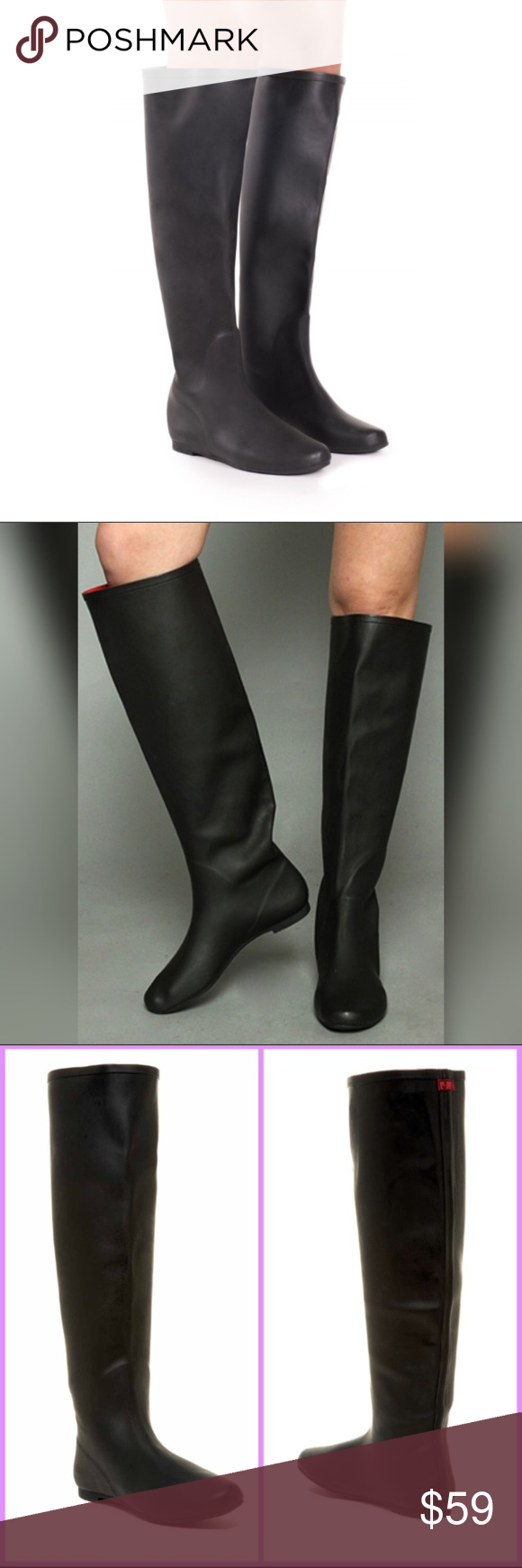 """Jeffrey Campbell Marsha Black Knee High Rainboot 8 New in Box Jeffrey Campbell – Marsha Over the Knee Rain Boot   Size 8 Color: black A matte finish lends a modern sensibility to a waterproof rain boot grounded by a low, flat heel. Round toe Pull-on Waterproof Approx. 18.5"""" shaft height, 16"""" opening circumference  Materials: PVC upper, synthetic lining, rubber sole Jeffrey Campbell Shoes Winter & Rain Boots"""