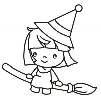 little witch beautiful witchkids colouringcoloring pages