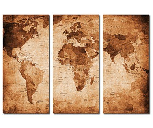 Yearainn large world map canvas prints vintage style 3 panels yearainn large world map canvas prints vintage style 3 panels antique map of the world gumiabroncs Gallery