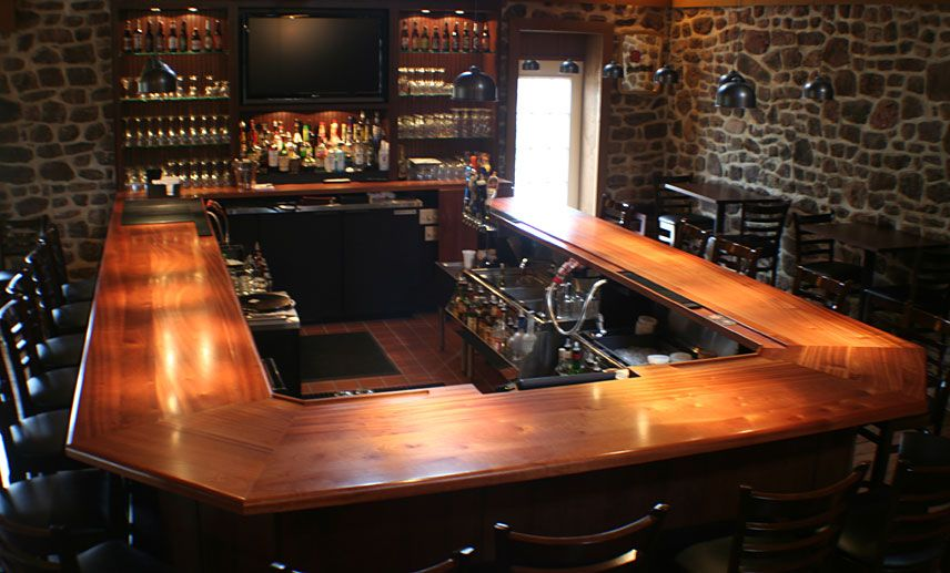 Wood Countertops | Mahogany Wood Bar Top with Drink Rail and Durata ...