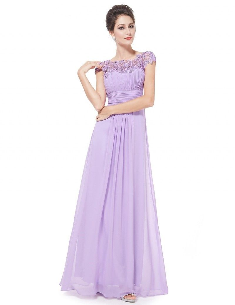 Elegant Scoop Cap Sleeve Open Back Beaded Lace Lilac Chiffon Prom Evening Dress Pretty Bridesmaid Dresses Evening Dresses Long Evening Dress Fashion [ 1038 x 800 Pixel ]