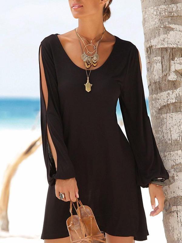 7fe2087e4a94 Casual Short Black Dress Swing Long Sleeve Slit Beach Mini Dress in ...