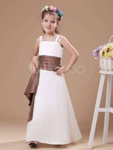 17e3fee3f07 Sweet White Champagne Satin Spaghetti Straps Floor Length Junior Bridesmaid  Dress - Milanoo.com this in black with a white sash for the girls