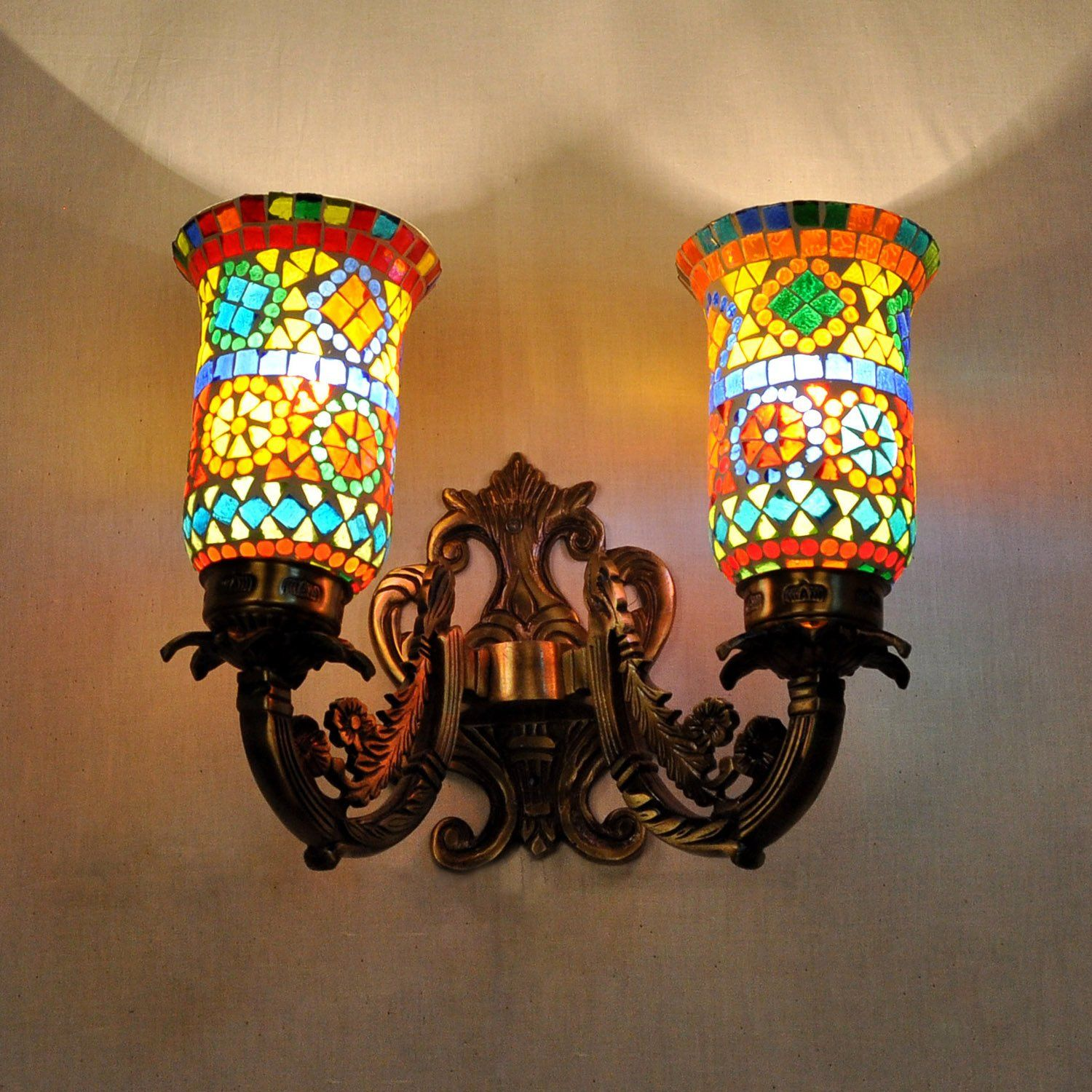 Metal Fixture2 Light Wall Sconce Vintage Style Living Room Mosaic