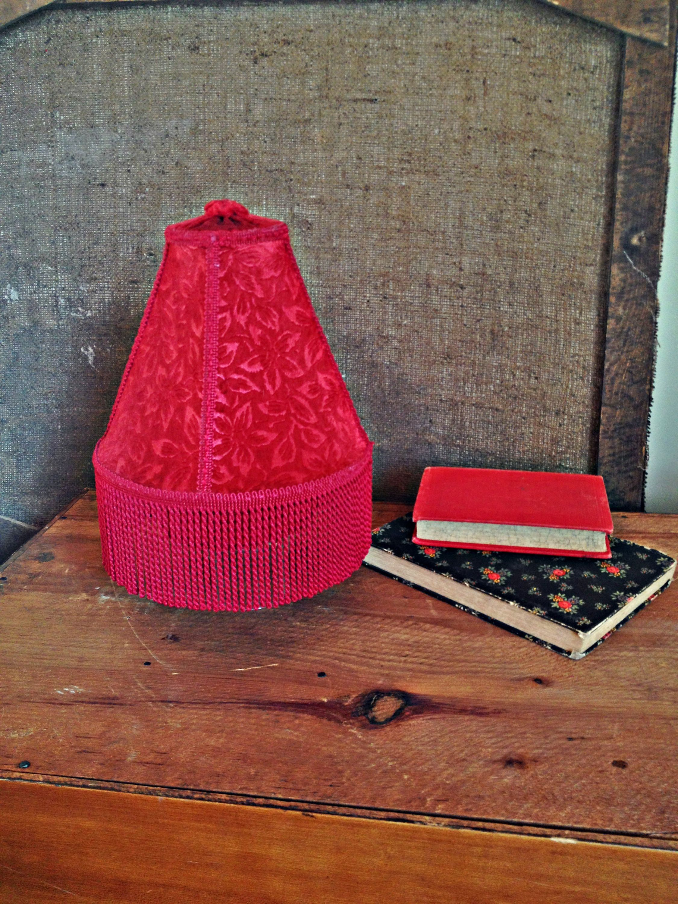 Lamp shade red velvet vintage fringe lamp shade small table lamp lamp shade red velvet vintage fringe lamp shade small table lamp light shade wire frame victorian lamp shade cabaret bedroom style decor by thegara mozeypictures Image collections
