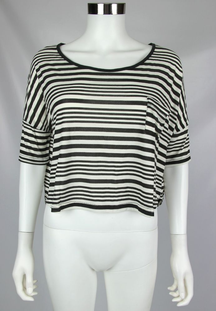 Poof Apparel Womens Large Black White Striped Short Sleeve Oversize Crop Top #POOF #CropTop #Casual