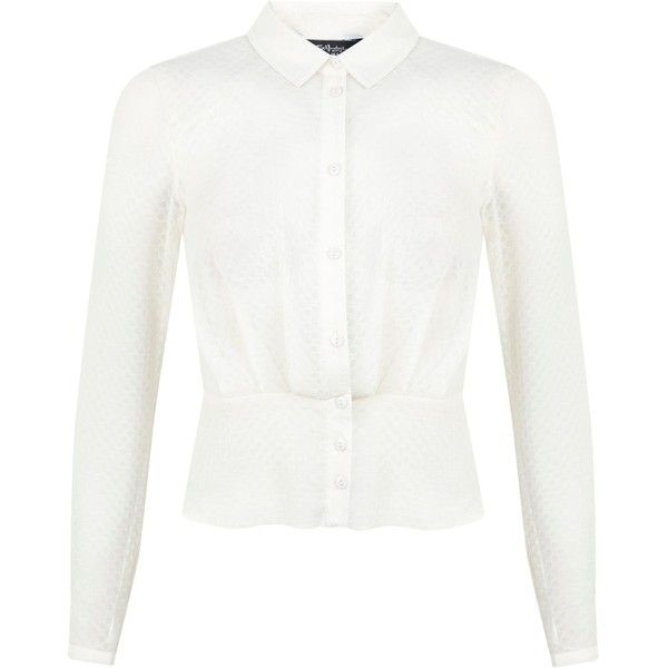 8fc29cd146b Miss Selfridge Cream Textured Scallop Blouse (575 ZAR) ❤ liked on Polyvore  featuring tops