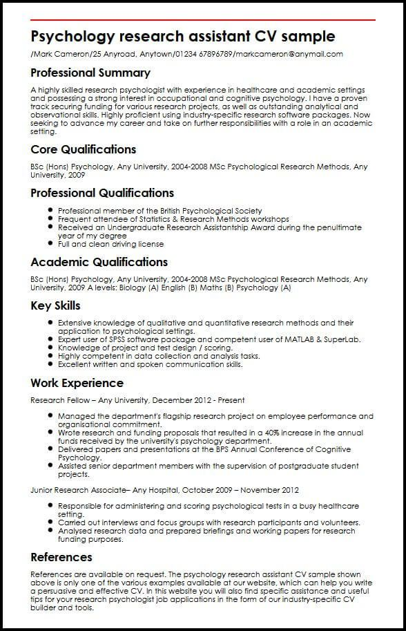 Cv Template Research Assistant Psychology research