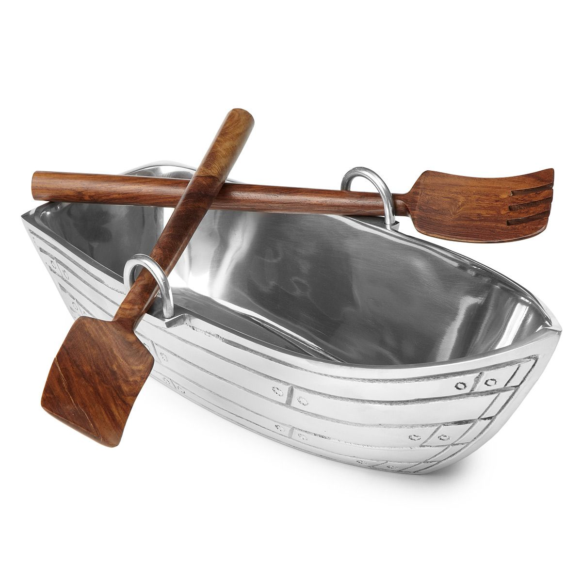Row Boat Serving Bowl with Wood Serving Utensils | Serving utensils ...