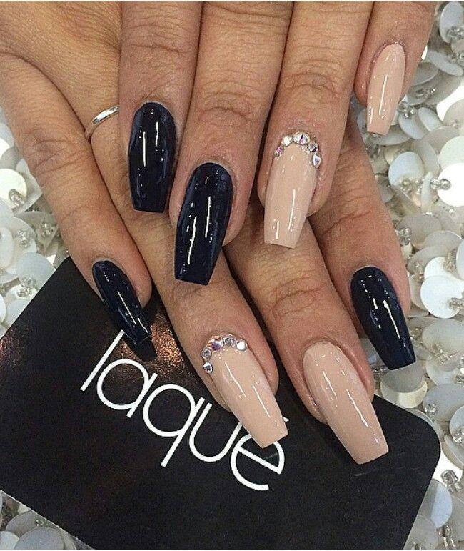 Tan N Black Purple Glitter Nails Tan Nails Fashion Nails