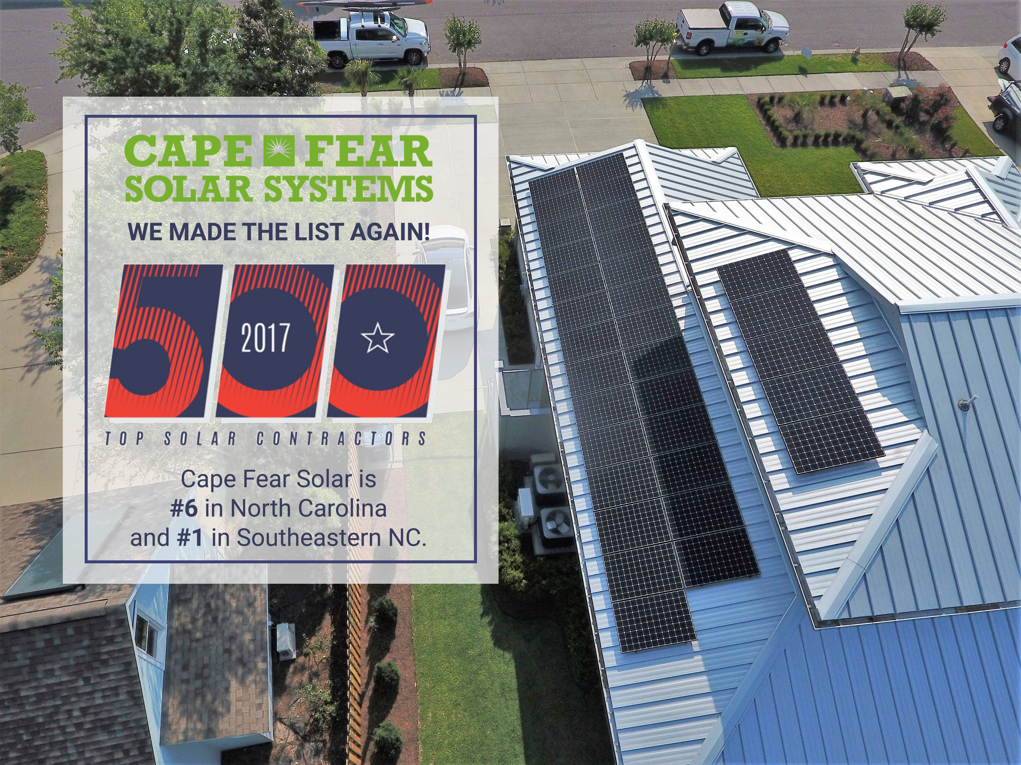 Cape Fear Solar Systems Recognized As Top Solar Contractor With Images Solar Solar News Solar System