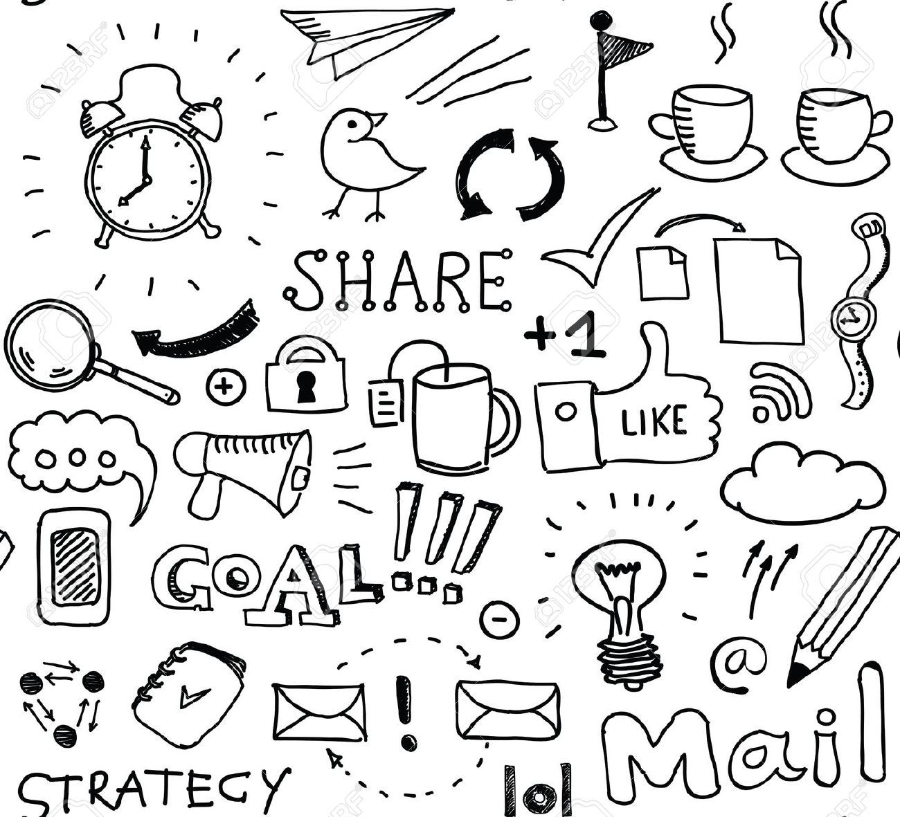 Hand drawn vector seamless pattern of brainstorming doodles elements | Pattern Drawing | 스티커, 자수