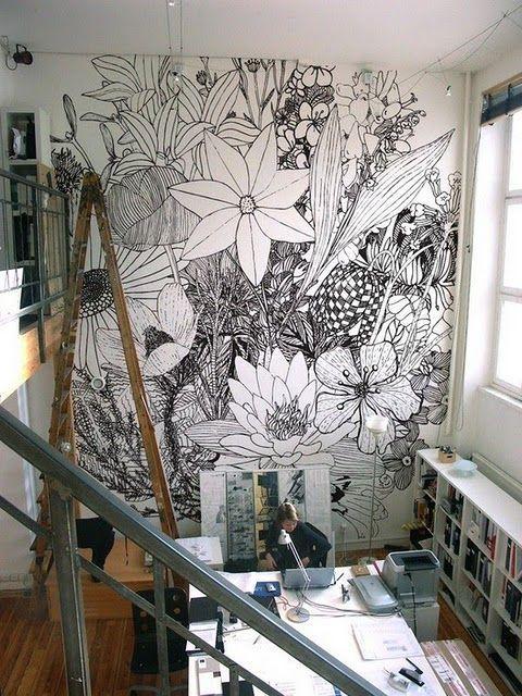 DIY Black lines giant flower wall art zentangle drawing