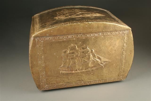 Sailing motif repoussed brass covered wood box. #antique #box #wood