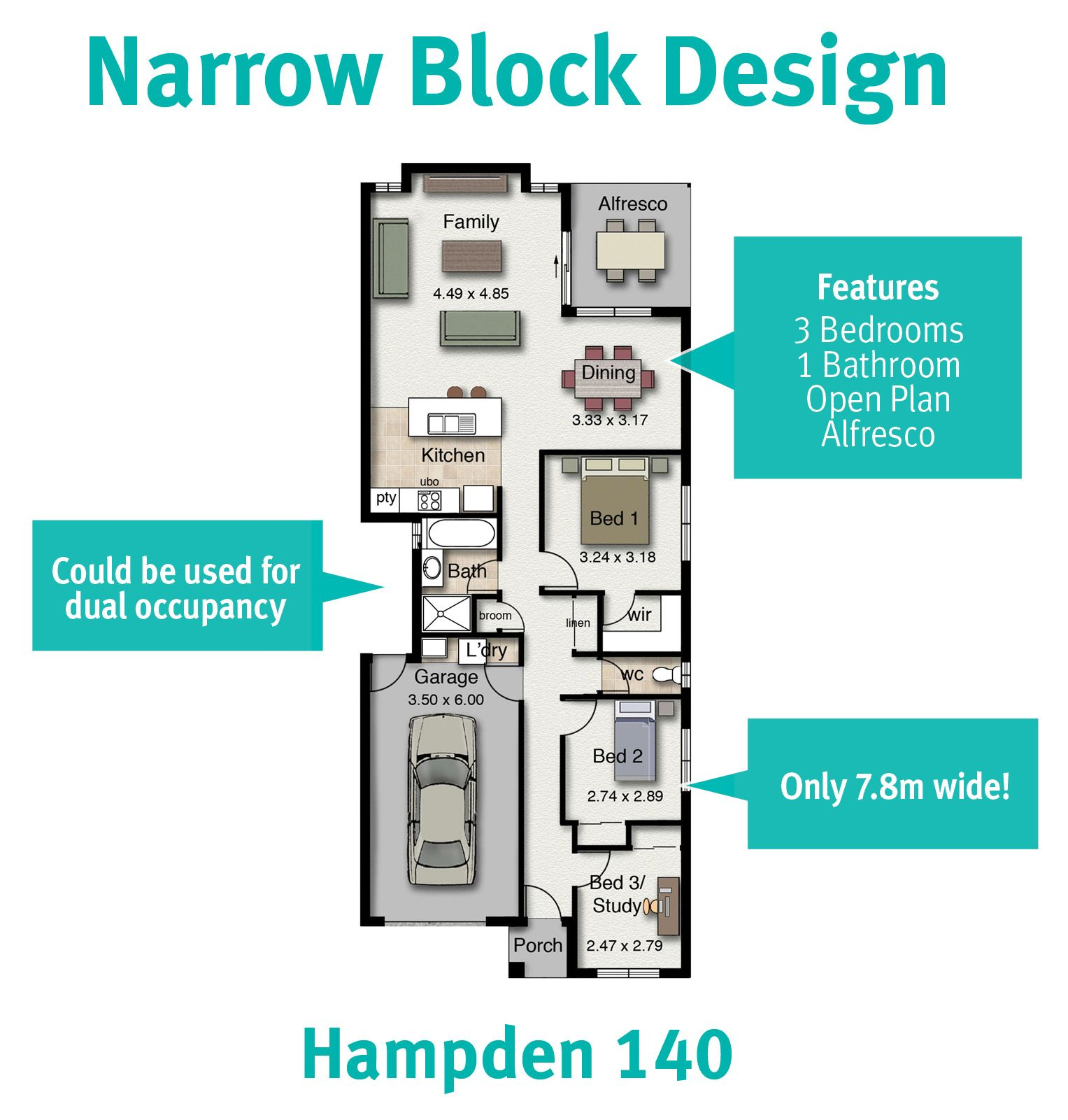 This home design is great for narrow blocks of land. It could also ...