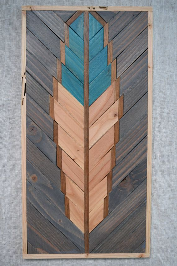 TURQUOISE Wood Wall Art Hanging – Feather Wooden Wall Art Hanging – Wood Art Wall Hanging – Modern Wood Art – Geometric Wood Art – Boho Art